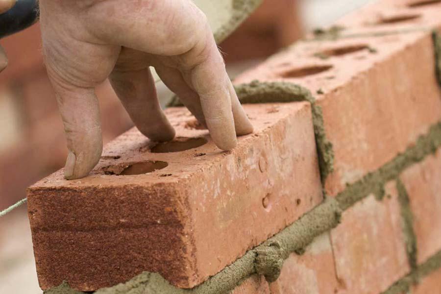 Brick work in progress on the job