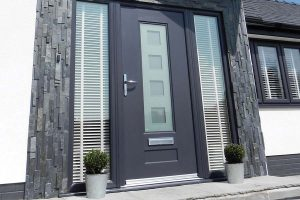 Composite front door replacement - modern anthracite grey colour
