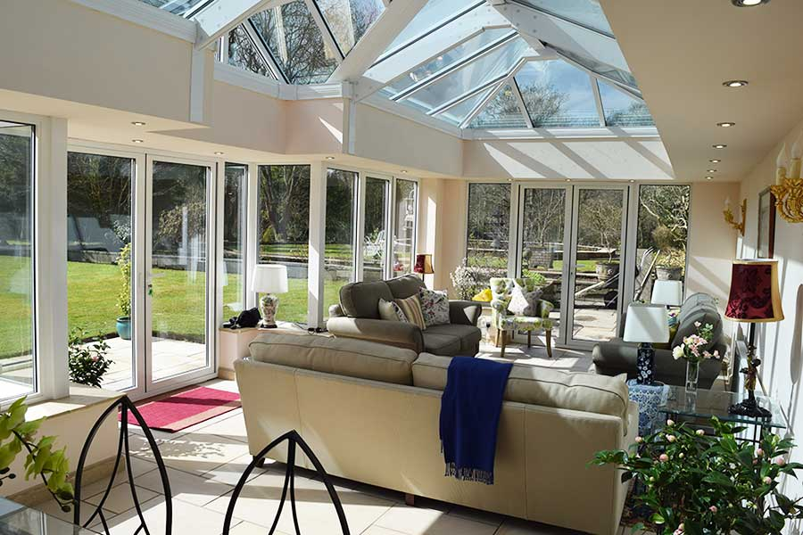 Internal view of extension with glazed roof