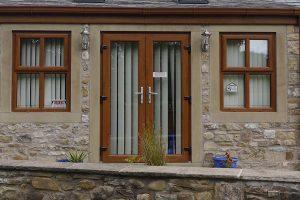 Oak colour french doors
