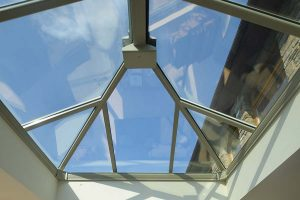 Glass orangery roof with self cleaning properties