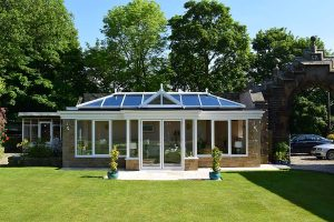 Grand summer house with glass roof