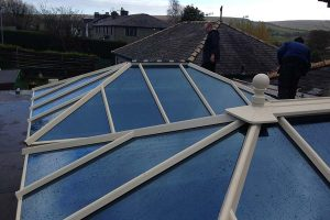Glazed orangery roof with cream frame