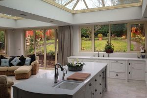 An internal view of a kitchen inside one of our orangery extensions