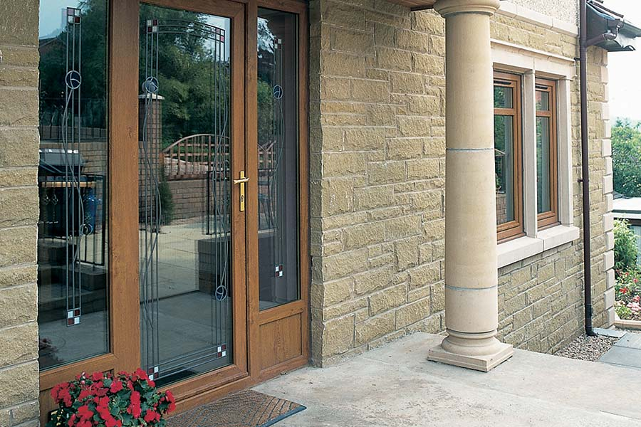 Oak colour entrance doors