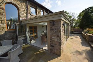 One of our orangery installations with bi-folding glass doors