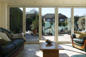 Bifold door internal view from orangery