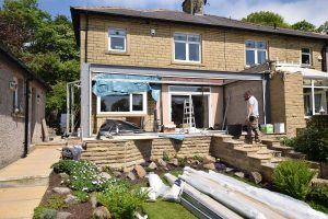 Orangery extension build in progress for large home