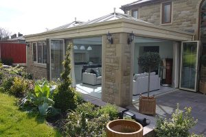 Orangery with two bi-folding doors allowing you to connect with the outside