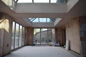 Orangery installation in progress internal view