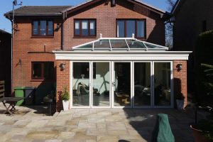Front view of a completed orangery installation project