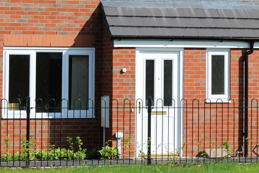 Porch with brick base and uPVC door