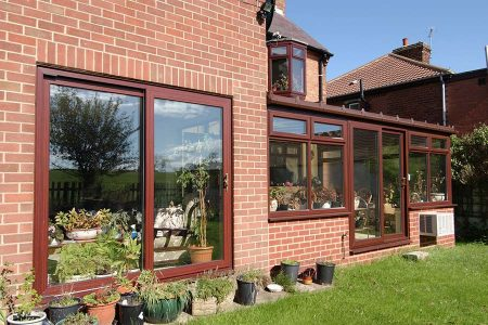 uPVC sliding patio door in rosewood with thermally efficient build