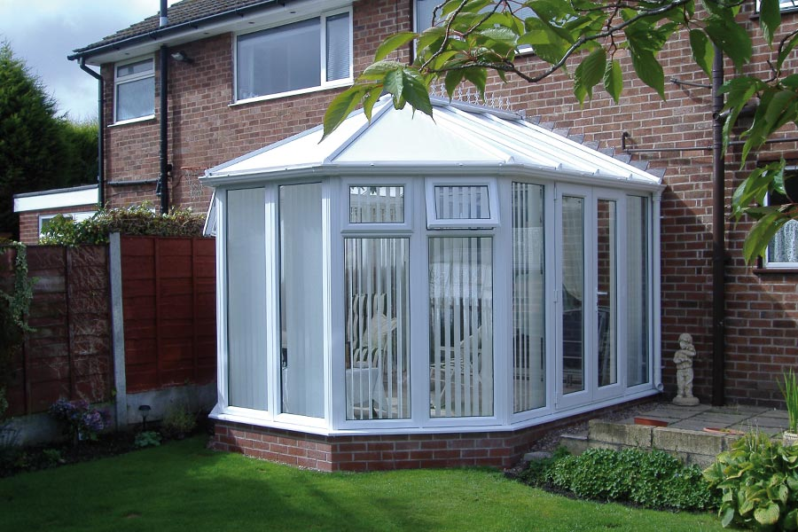 Victorian style conservatory with brick base and upvc roof